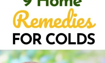 "Pinterest pin with two images. One image is of a woman lying in bed with used kleenex all around her. Second image is of a large bowl filled with lemons, herbs and raw honey. Text overlay says, ""9 Home Remedies for Colds: get well fast!"""