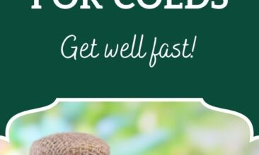"""Pinterest pin, image is of a large bowl filled with lemons, herbs and raw honey. Text overlay says, """"9 Home Remedies for Colds: get well fast!"""""""