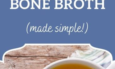 "Pinterest pin, image is of a bowl full of bone broth with chopped herbs on top. Text overlay says, ""Nourishing Homemade Bone Broth... in 6 simple steps!"""
