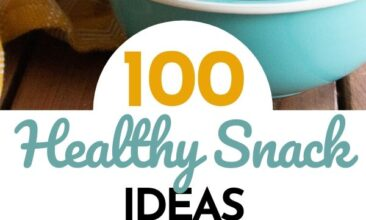 """Two images, one is a table with multiple bowls of nuts, seeds and fruit. The other is an image of no-bake energy bites in a bowl. Text overlay says, """"100 Healthy Snack Ideas: No Refined Sugar""""."""