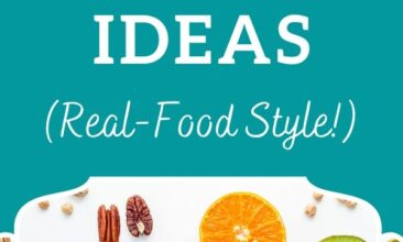 """Pinterest image of a table with multiple bowls of nuts, seeds and fruit. Text overlay says, """"100 Healthy Snack Ideas: No Refined Sugar""""."""