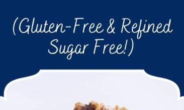 """Pinterest pin, image is a white plate with two granola bars on it. Text overlay says, """"Healthy Homemade Granola Bars: GF & refined sugar free!"""""""