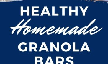 """Pinterest pin with two images. One image is a white plate with two granola bars on it. Second image is of a mixing bowl filled with ingredients for granola bars. Text overlay says, """"Healthy Homemade Granola Bars: GF & refined sugar free!"""""""