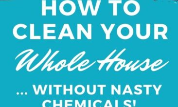 "Pinterest pin with two images. One image is of a hand holding a spray bottle, spraying into a toilet. Second image is of a kitchen sink. Text overlay says, ""How to Clean Your Whole House: without nasty chemicals!"""