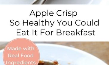 "Pinterest pin collage with little ramekins of apple crisp. Text overlay reads ""Apple Crisp So Healthy You Could Eat It For Breakfast"""