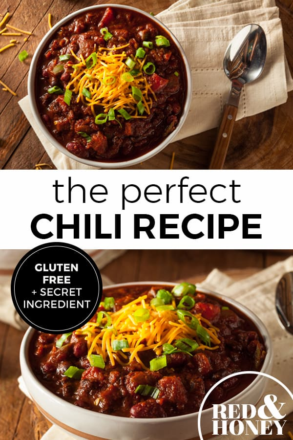 """Two images of a bowl of chili topped with shredded cheddar cheese, sliced green onions. Text overlay says, """"The perfect chili recipe. Gluten Free plus a secret ingredient""""."""