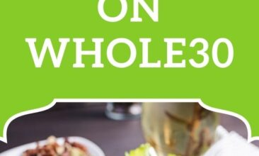 """Pinterest pin, image is of a blue plate with a cobb salad. Text overlay says, """"5 Steps to Success on Whole30: tops & tricks that work!"""""""