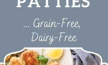 "Pinterest pin, image is of salmon patties on a white plate with lemon wedge. Text overlay says, ""The Best Salmon Patties: Grain Free & Dairy Free""."