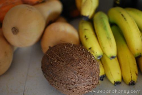 coconut, bananas, butternut squash