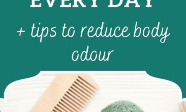 "Pinterest pin, image is of shower products like a dry brush, comb, bar or soap, etc. sitting on a bathroom counter. Text overlay says, ""How to stay clean without showering everyday + tips to reduce body odour""."