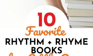 """Pin collage, bottom image is of a young blonde girl reading a book at a table, the top image is of 2 stacks of books with a child sitting on the taller stack and their feet on the lower stack, and open book sits in their lap. Text overlay reads """"Favorite Rhythm & Rhyme Books for Little Ones"""""""