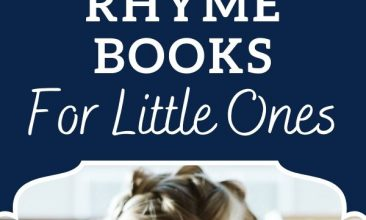 """Pin collage, top image is of a young blonde girl reading a book at a table. Text overlay reads """"Favorite Rhythm & Rhyme Books for Little Ones"""""""