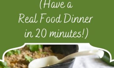 """Pinterest pin, image is of creamy green chili served over rice in a bowl on a white table with ingredients in the background. Text overlay says, """"Green Chili Ground Beef Skillet - quick and easy recipe""""."""
