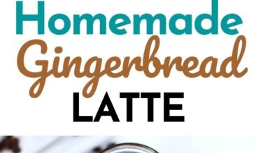 "Pinterest pin with two images. One image is of a mug filled with a gingerbread latte. Second image is of a jar filled with gingerbread syrup. Text overlay says, ""Homemade Gingerbread Latte: no refined sugar!"""