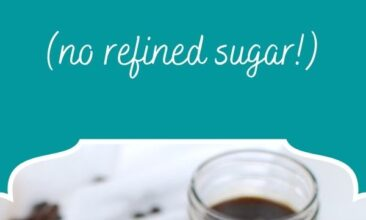 """Pinterest pin, image is of a mug filled with a gingerbread latte. Text overlay says, """"Homemade Gingerbread Latte: no refined sugar!"""""""