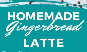"""Pinterest pin with two images. One image is of a mug filled with a gingerbread latte. Second image is of a jar filled with gingerbread syrup. Text overlay says, """"Homemade Gingerbread Latte: no refined sugar!"""""""