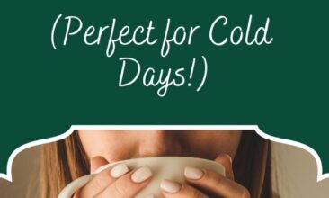 "Pinterest pin image is of a woman taking a drink out of a mug. Text overlay says, ""50 Hot Drink Recipes: perfect for cold days!"""