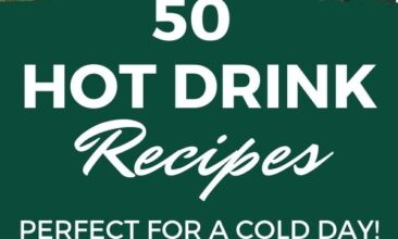 """Pinterest pin with two images. One image is of a woman taking a drink out of a mug. Second image is of a late sitting on a table in a white cup. Text overlay says, """"50 Hot Drink Recipes: perfect for cold days!"""""""