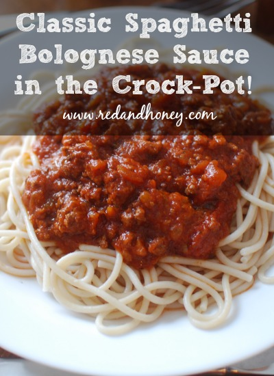 Crock-Pot Spaghetti Bolognese Sauce from Scratch - yum!! This recipe uses only real food ingredients and has a touch of sweet from the honey. A subtle, but mouth-watering addition!