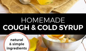 """Pinterest pin with two images. Top image is of a jar filled with cough syrup next to a spoon and half a lemon. The second image is of a bowl filled with scraps of ingredients. Text overlay says, """"Homemade Cough & Cold Syrup: natural & simple ingredients""""."""