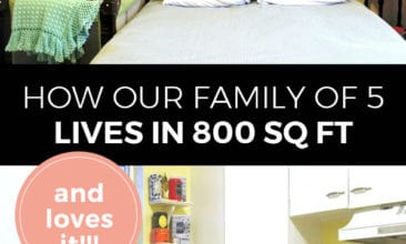 "Pinterest pin with two images. The first of a bed in a small bedroom, the second of a brightly colored kitchen. Text overlay says, ""How our family of 5 lives in 800 sq. ft. and loves it!!"""