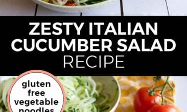 "Pinterest pin with two images. The top image is a bowl of cucumber noodles with onions and tomatoes, the second image is of a bowl of cucumber noodles with tomatoes sitting on a table. Text overlay says, ""Zesty Italian Cucumber Salad Recipe: Gluten free vegetable noodles""."