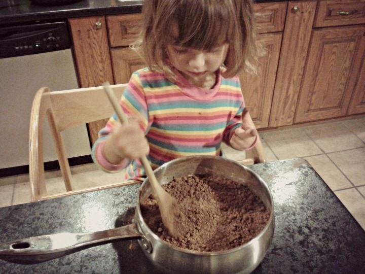 making chocolate pudding