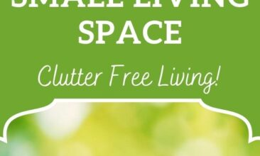 "Pinterest pin, image is of a wooden cutout of a house. Text overlay says, ""6 Ways to Stay Sane in a Small Living Space: no clutter living!"""