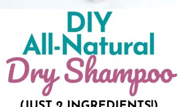 """Pinterest pin with two images. One image is an 8 ounce mason jar filled with dry shampoo. Second image is of the open jar of dry shampoo with a makeup brush on a counter. Text overlay says, """"DIY All-Natural Dry Shampoo: just two ingredients!"""""""