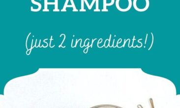 """Pinterest pin, image is of the open jar of dry shampoo with a makeup brush on a counter. Text overlay says, """"DIY All-Natural Dry Shampoo: just two ingredients!"""""""