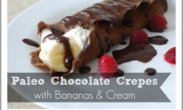 Grain-free Chocolate Crepes with Bananas & Cream