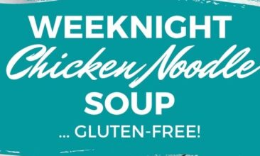 """Pinterest pin with two images. One image is of a white bowl filled with chicken noodle soup and lots of veggies. Second image is another angle of a bowl of chicken noodle soup. Text overlay says, """"Chicken Noodle Soup: Gluten-Free!"""""""