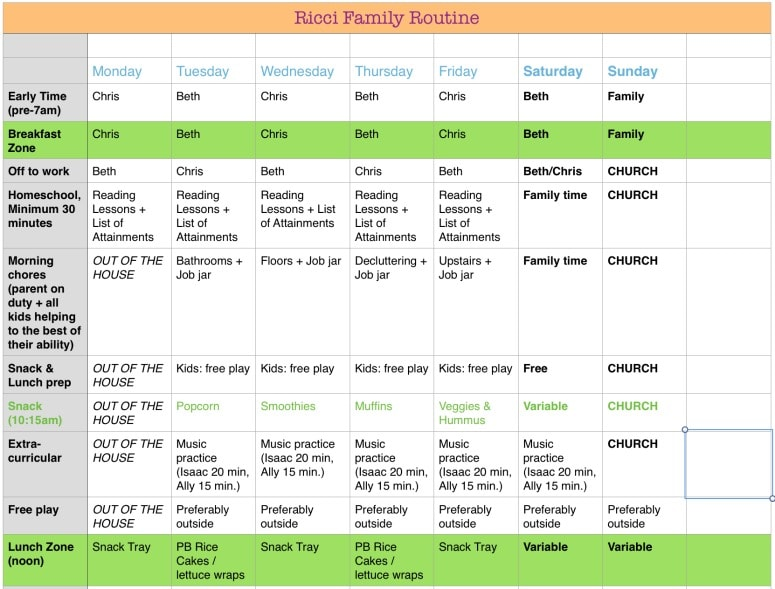our flexible, daily schedule, part 1