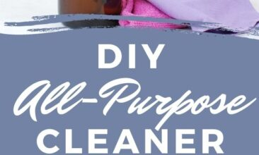 """Pinterest pin with two images. One image is an amber glass spray bottle with essential oil bottles on a counter. The second is a close up of the glass cleaning spray bottle. Text overlay says, """"Homemade All-Purpose Cleaner: That actually works!"""""""