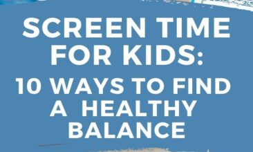 """Pinterest pin with two images. One image is of a little girl holding a TV remote. Second image is of a young boy holding an ipad. Text overlay says, """"Screen Time For Kids: Tips to Finding A Healthy Balance, A Realistic Approach!"""""""