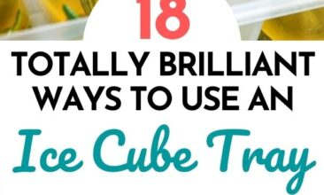 """Pinterest pin with two images; the first image is of an ice cube tray filled with oil and fresh herbs. The second image is of frozen cubes of coffee. Text overlay says, """"Totally genius ways to use an ice cube tray: 18 ideas that will blow you away!"""""""