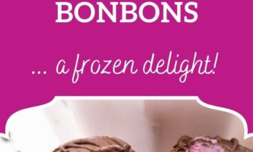 """Pinterest pin image is of a blackberry ice cream bon bon cut in half. Text overlay says, """"Blackberry Chocolate Covered Bon Bons: A Frozen Delight!"""""""