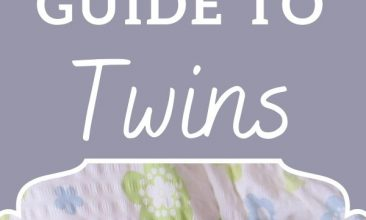 """Pinterest pin of twin young babies sleeping side by side, the Text overlay reads """"A Crunchy Parent's Guide to Twins"""""""