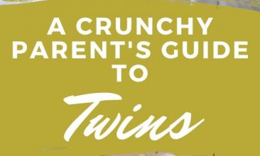 """Pinterest pin collage, the first image is of twin young babies sleeping side by side, the second is of twin toddlers walking through a field together. Text overlay reads """"A Crunchy Parent's Guide to Twins"""""""