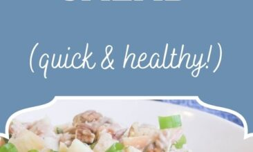 "Pinterest pin, image is of tuna salad mixed together in a white bowl. Text overlay says, ""Waldorf Tuna Salad: quick & healthy!"""