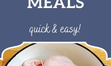 "Pinterest pin, image is of a raw chicken sitting in a pot on a countertop. Text overlay says, ""15 Real Food Weeknight Meals: Easy & Affordable!"""