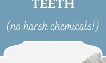 """Pinterest pin, image is of a toothbrush with charcoal toothpaste. Text overlay says, """"5 Ways to Naturally Whiten Teeth - no harsh chemicals!"""""""