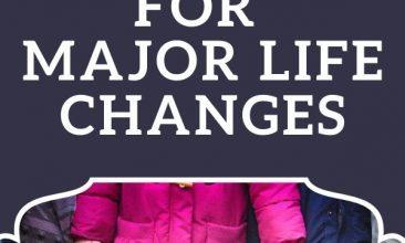 """Pinterest pin image of 4 kids from the chest down, holding hands while they stand on a sidewalk in their rainboots. Text overlay reads """"How to Prepare Your Kids for Major Life Changes"""""""