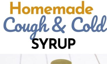 """Pinterest pin with two images. One image is of a jar filled with cough syrup next to a spoon and half a lemon. The second image is of a bowl filled with scraps of ingredients. Text overlay says, """"Homemade Cough & Cold Syrup: natural & simple ingredients""""."""