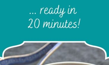 """Pinterest pin, image is of a bowl of soup. Text overlay says, """"Quick & Nourishing Japanese Soup - ready in 20 minutes!"""""""