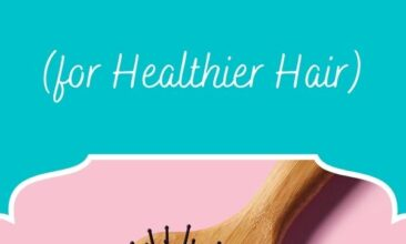 "Pinterest pin, image is a hairbrush sitting on a pink backdrop. Text overlay says, ""How to clean a hairbrush: for healthier hair!"""