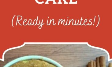 """Pinterest pin image is of a mug filled with pumpkin spice cake. Text overlay says, """"Paleo Pumpkin Spice Mug Cake: Ready in Minutes!"""""""