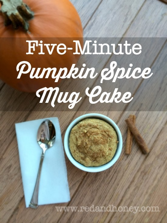 A single-serve recipe for Pumpkin Spice Mug Cake that's ready in just five minutes? Seriously brilliant!! Just double as needed for more servings, each in their own mug or ramekin. Love it!
