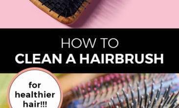 """Pinterest pin with two images. The first image is a hairbrush sitting on a pink backdrop. The second image is a pile of hairbrushes. Text overlay says, """"How to clean a hairbrush: for healthier hair!"""""""