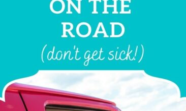 "Pinterest Pin, image is of a woman reaching her arms out of a car. Text overlay says, ""20 Tips for Staying Healthy While on the Road: don't get sick!"""